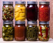 Group of fresh homemade preserved vegetables and fruits