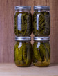 Beans and pickles preserved in mason jars