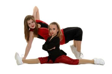 Hip Hop Duo Posing In Red