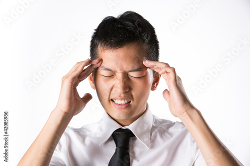 Man holding his head in distress