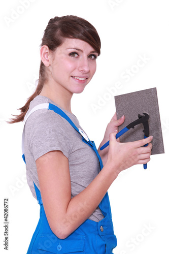 Handywoman on white background