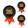 Detaily fotografie Best seller, best value and best choice labels with ribbon