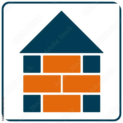 Apllication App Symbol Logo Haus Bau Mauer mit QXP9 Datei
