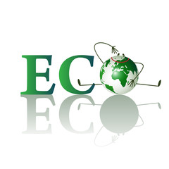 Illustration of eco text with funny planet