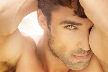 Beautiful man up close