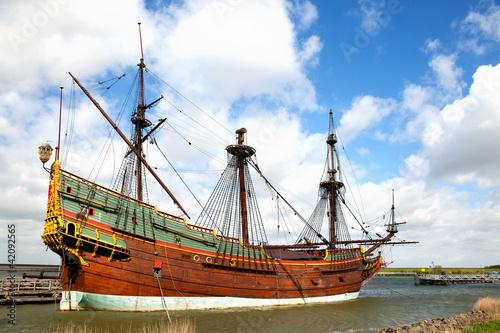 Leinwanddruck Bild Replica of Dutch tall ship the Batavia