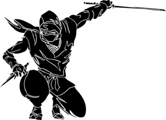 Ninja fighter - vector EPS illustration. All vinyl-ready.