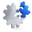 Zahnrad - Puzzle blau