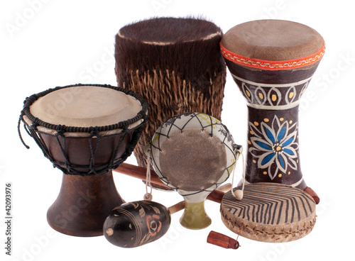 Leinwanddruck Bild African ethnic drums from different countries