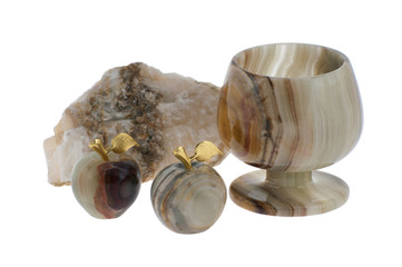 Wineglass and apples of onyx