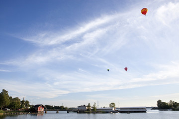 Red Ballons over a bay, Helsinki, Finland