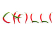 Chilli sign over white
