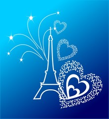Eifel Tower with the fireworks and the hearts