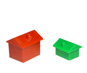 red and green house