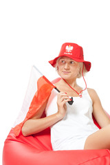 woman with polish flag waiting euro match