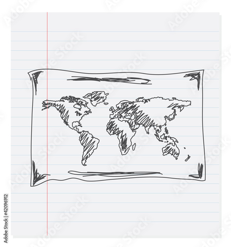 hand drawn world map on paper