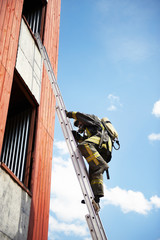 Firefighter climb on fire stairs