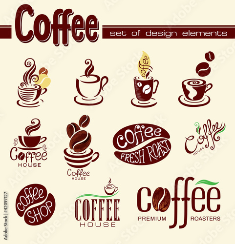 Set of design elements with coffee.