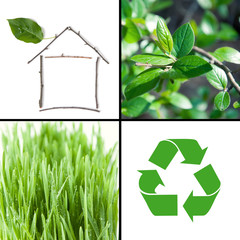 Eco architecture and environmental protection collage