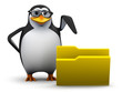 3d Penguin in glasses points to a folder