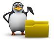 3d Penguin in glasses points to a folder