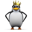 3d Penguin in glasses and royal gold crown