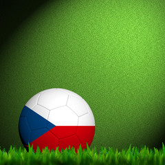 3D Football Czech  Flag Patter in green grass