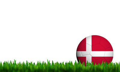 3D Football Denmark Flag Patter in green grass on white backgrou