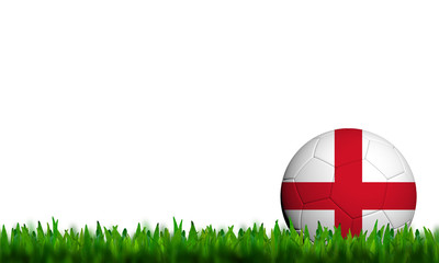 3D Football England Flag Patter in green grass on white backgrou