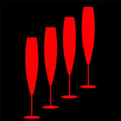 Abstraction wineglass and red lines