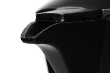 Luxury black coffee maker. closeup view