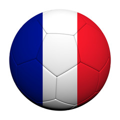 France Flag Pattern 3d rendering of a soccer ball