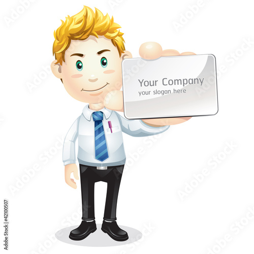 Business man handing a blank business card. Cartoon character.