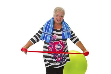 Seniorin mit Stretchband