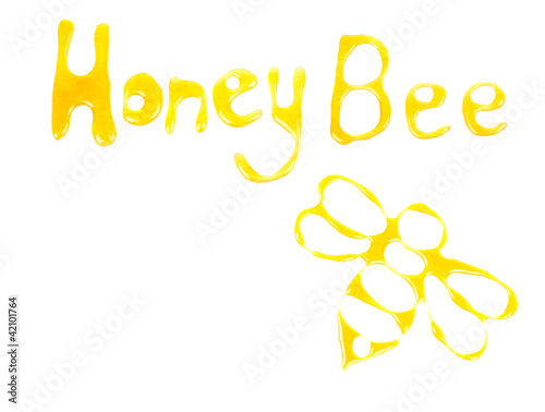 words Honey bee and bee drawn with honey