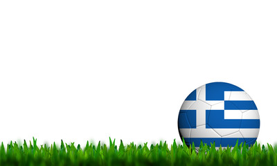 3D Football Greece Flag Patter in green grass on white backgroun
