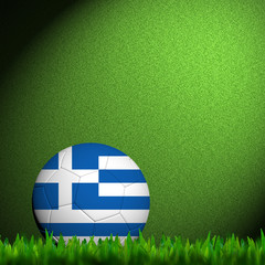 3D Football Greece Flag Patter in green grass