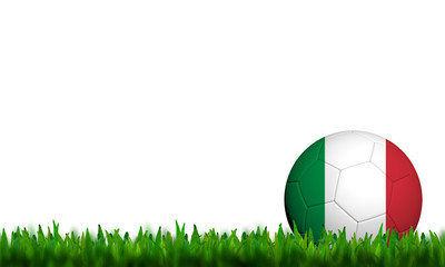 3D Football Italy Flag Patter in green grass on white background