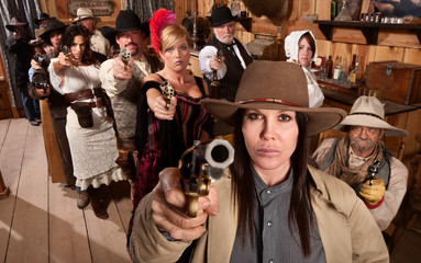 Dangerous People in Bar Point Their Guns