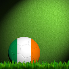 3D Football Ireland Flag Patter in green grass