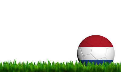 3D Football Netherlands Flag Patter in green grass on white back
