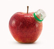 Red apple with bottle neck isolated on white background