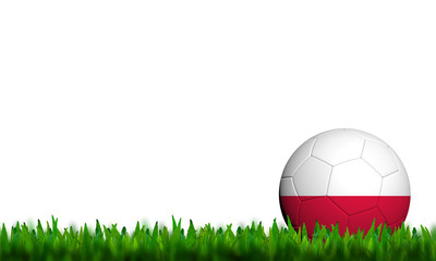 3D Football Poland Flag Patter in green grass on white backgroun