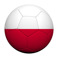 Poland Flag Pattern 3d rendering of a soccer ball