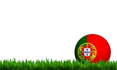 3D Football Portugal  Flag Patter in green grass on white backgr