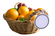 Fruit basket isolated on white background with paper tag