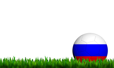 3D Football Russia Flag Patter in green grass on white backgroun
