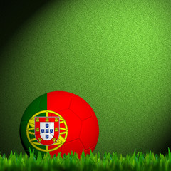 3D Football Portugal Flag Patter in green grass