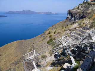 Cable Car up to Town of Fira on Santorini Greece