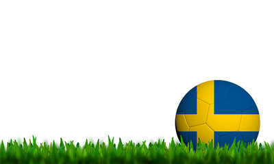3D Football Sweden Flag Patter in green grass on white backgroun